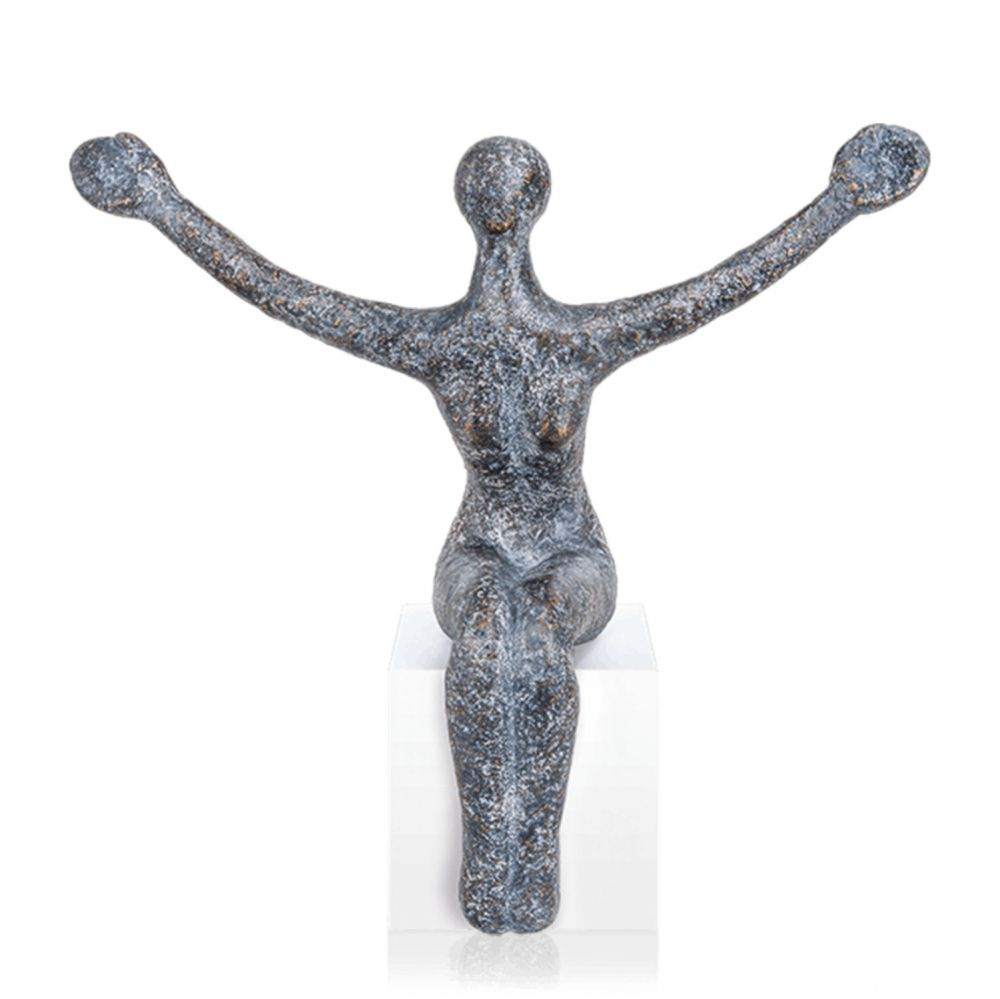 Bronzefigur »Sitting Woman« Andrea Kraft, Edition Strassacker, 30 cm hoch
