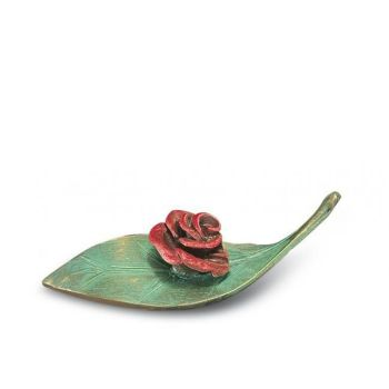Applikation »Rose auf Blatt« Bronze